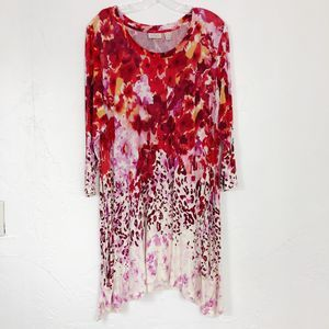 LOGO Lori Goldstein Red Leopard Floral Swing Tunic